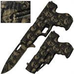 .40 Cal Trigger Action Knife - Off White Skulls, , Panther Trading Company- Panther Wholesale