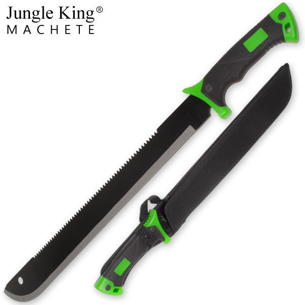 24.75 Inch Jungle King Machete Undead Green Rubber Grip Handle, , Panther Trading Company- Panther Wholesale