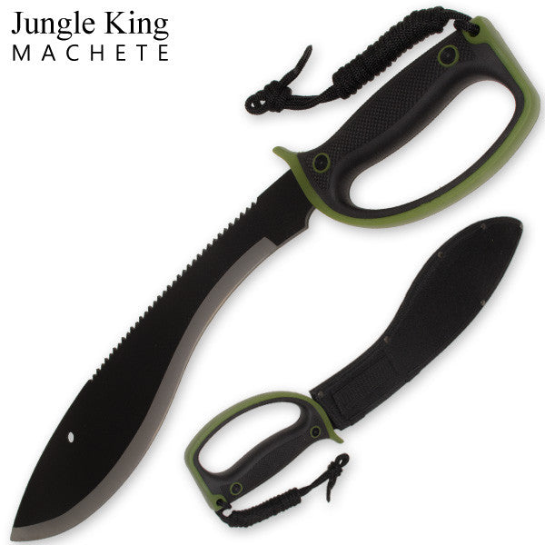20.85 Inch Jungle King Machete Enclosed Handle - Camo Green, , Panther Trading Company- Panther Wholesale