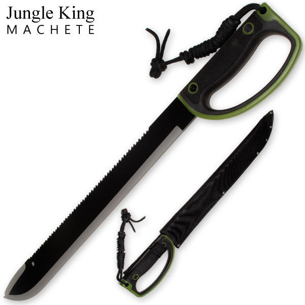 23.85 Inch Jungle King Machete Enclosed Handle - Camo Green, , Panther Trading Company- Panther Wholesale