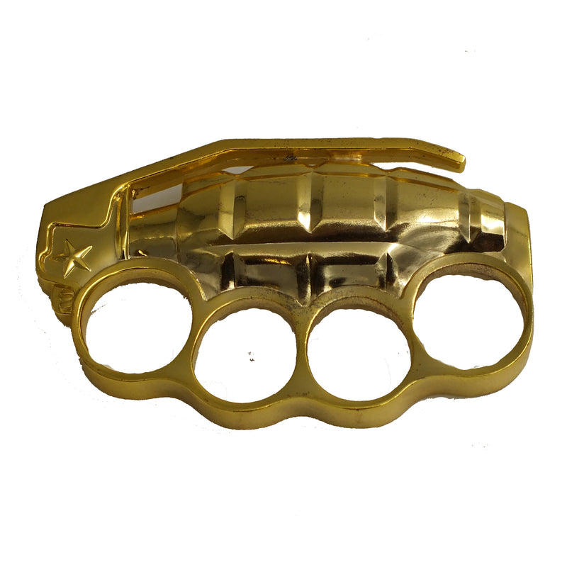 Solid Gold Hand Grenade Brass Knuckles