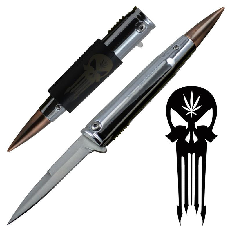 Skull .50 Cal Trigger ActionBullet Knife with Removable Pocket Clip, , Panther Trading Company- Panther Wholesale