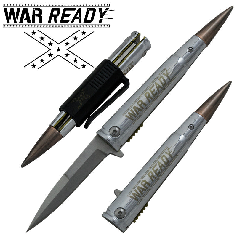 War Ready .50 Cal Trigger ActionBullet Knife with Removable Pocket Clip, , Panther Trading Company- Panther Wholesale