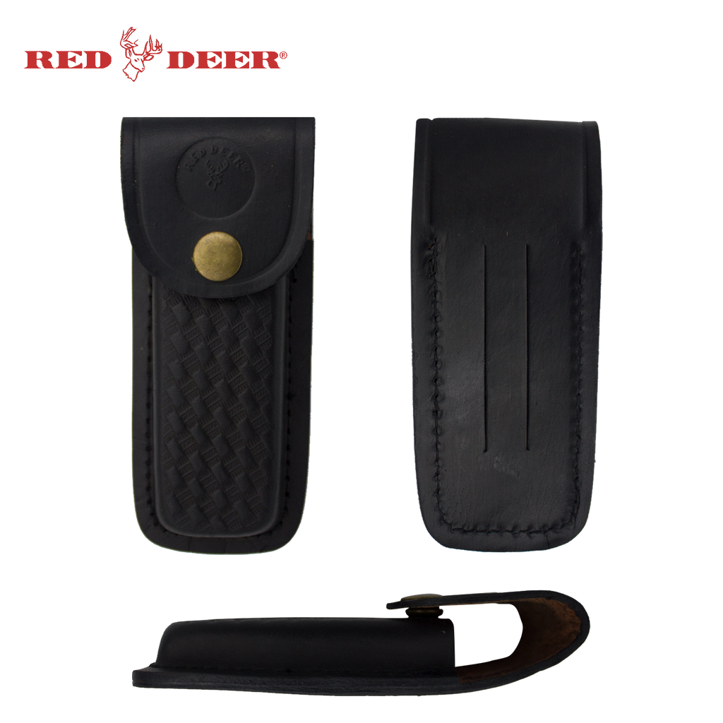 Red Deer Black Leather Folding Carrying Case