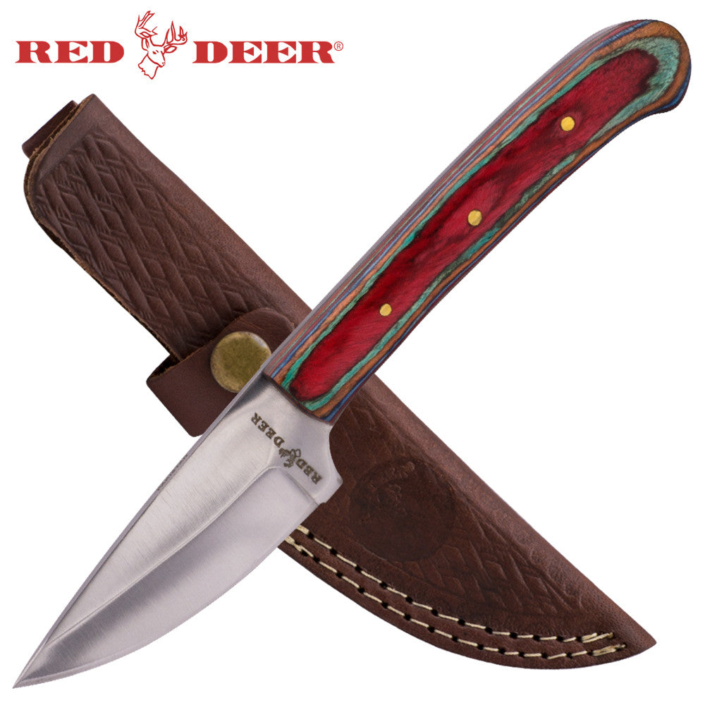 8 inch Hunting Knife with Leather sheath (Multicolor Pakka Wood Handle), , Panther Trading Company- Panther Wholesale