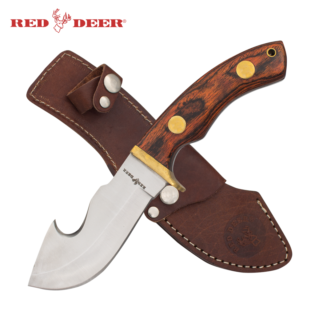 Red Deer® Hunting Knife with Leather Sheath (Red/Orange Pakka Wood Handle)