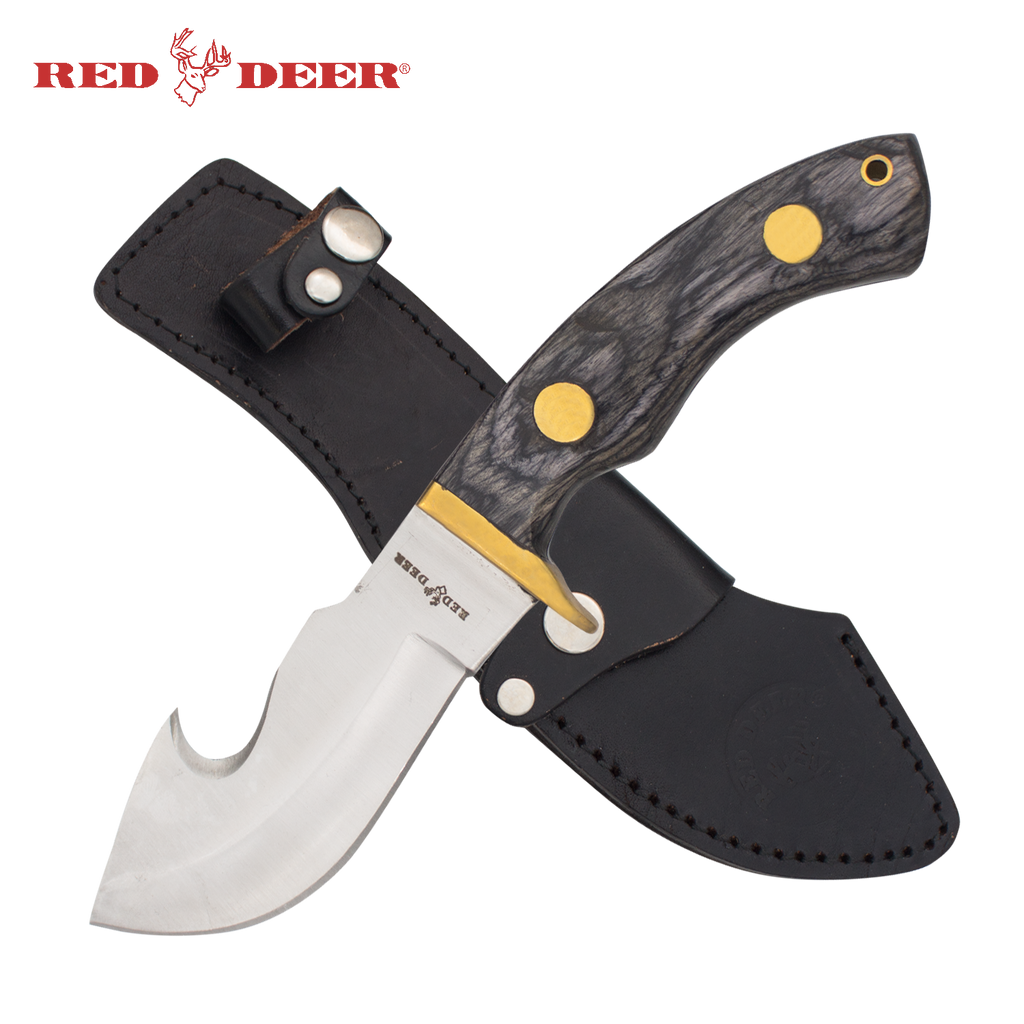 Red Deer® Hunting Knife with Leather Sheath (Black/Gray Pakka Wood Handle)