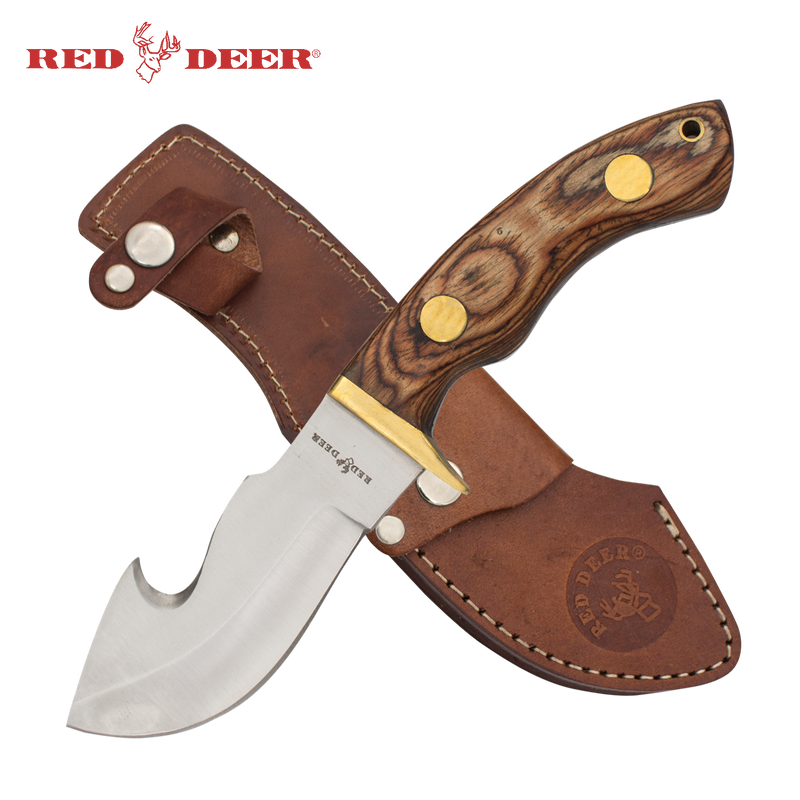 Red Deer® Hunting Knife with Sheath (Oak Brown)