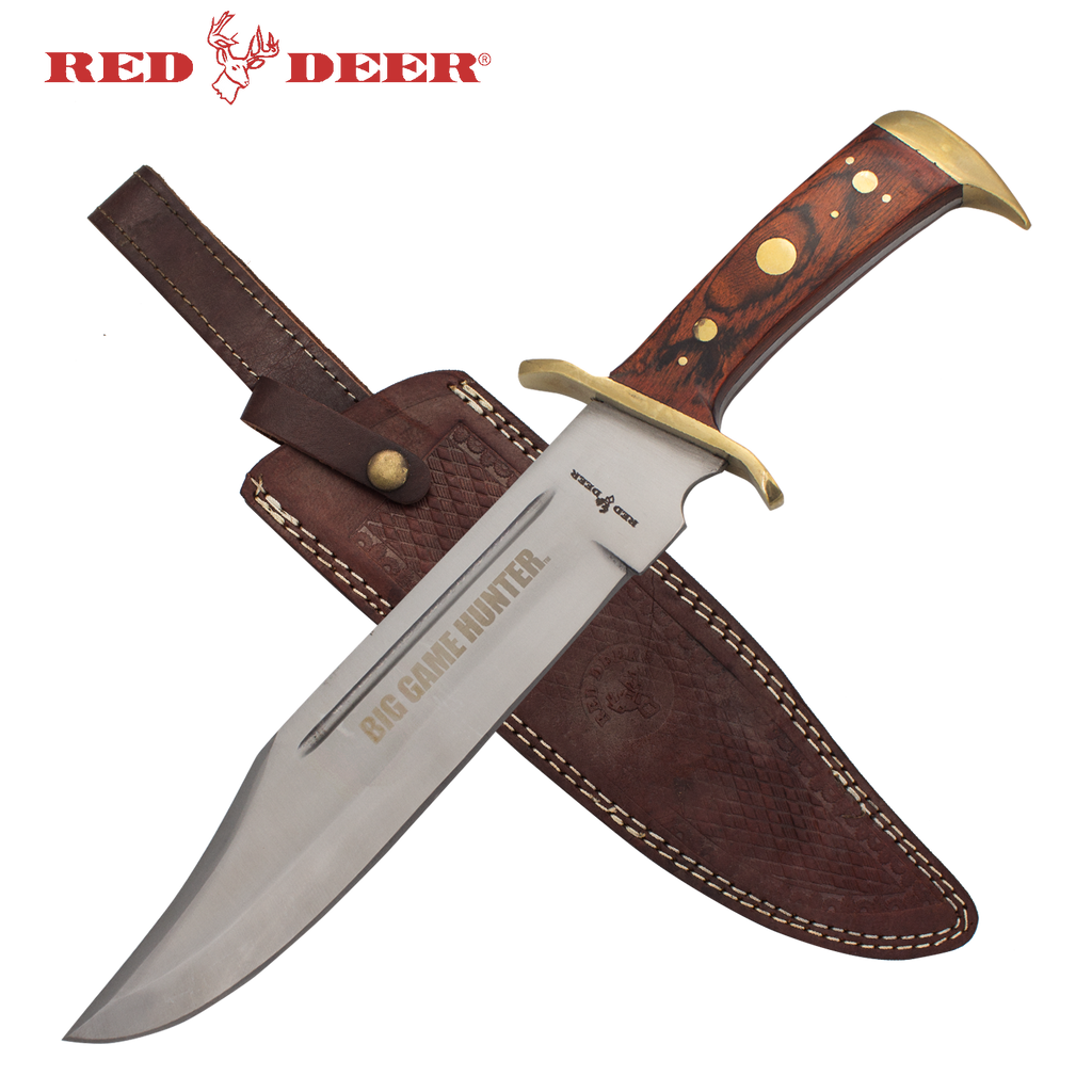 BIG GAME HUNTER® 16.5 in Red Deer Hunting Knife with Brown Leather Sheath - Panther Wholesale