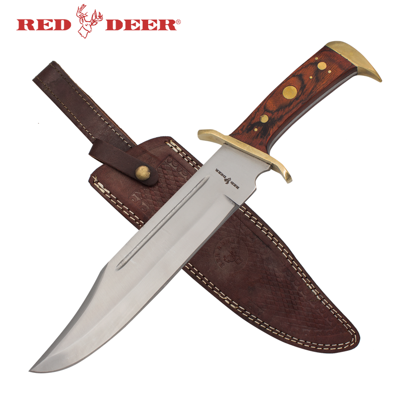 16.5 in Red Deer Hunting Knife with Brown Leather Sheath, , Panther Trading Company- Panther Wholesale