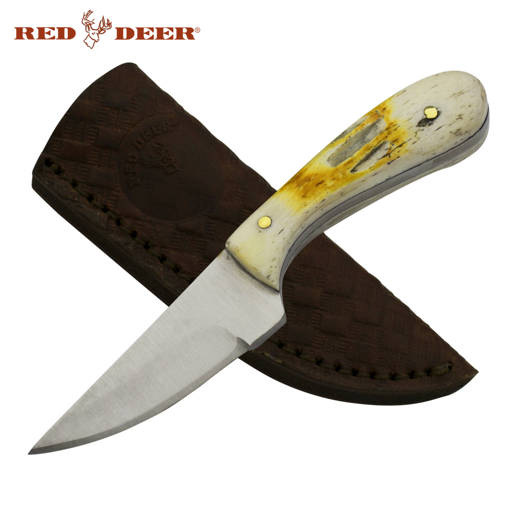 4 1/2in Red Deer Hunting Neck Knife with Burnt Bone Etched Handle, , Panther Trading Company- Panther Wholesale