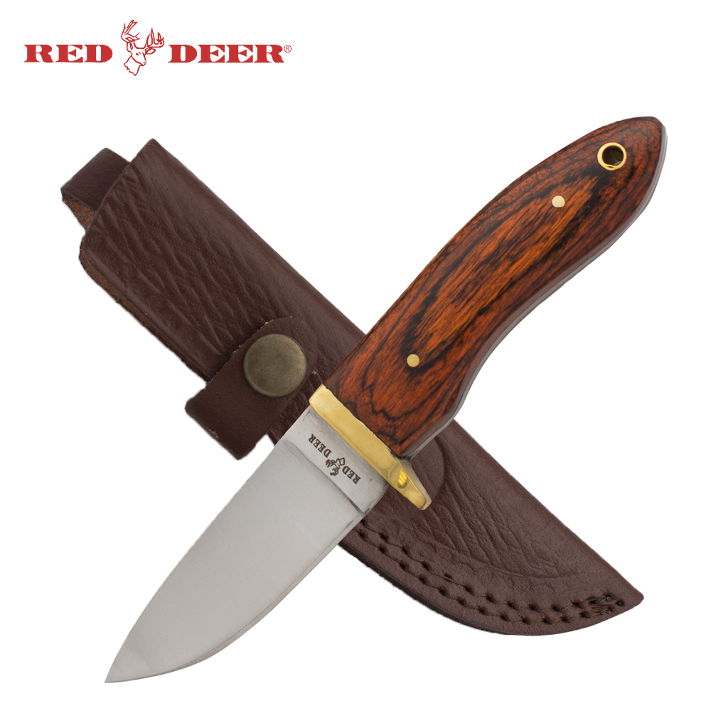 7.5inch Red Deer Red Natural Wood Handle Hunting Knife