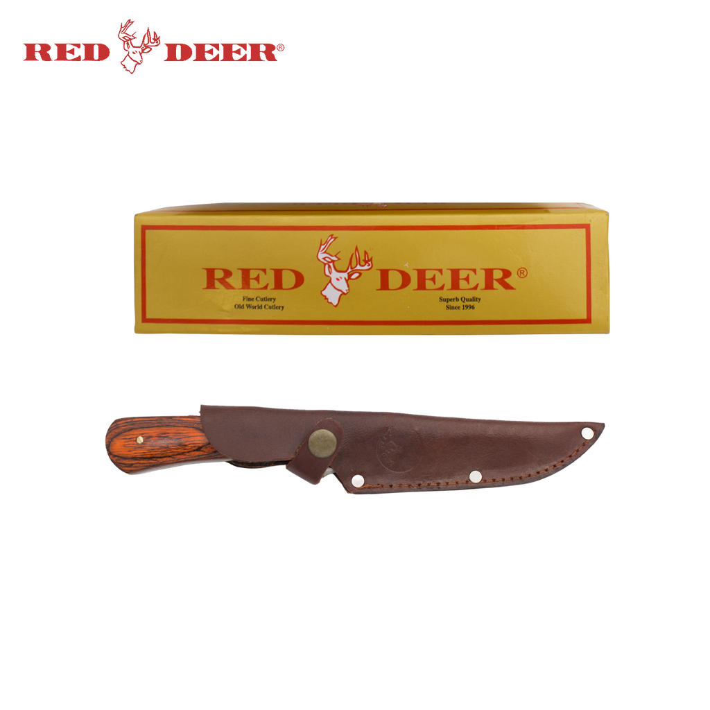 10 Inch Red Deer Hunting Knife Wood Handle and Duck Engraving, , Panther Trading Company- Panther Wholesale