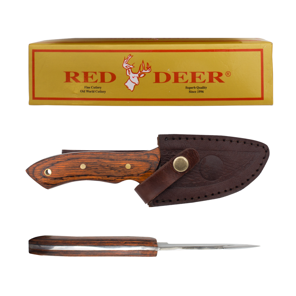 Pakka Hunter Red Deer® Full Tang Gut Hook Pakka Wood Hunting Knife