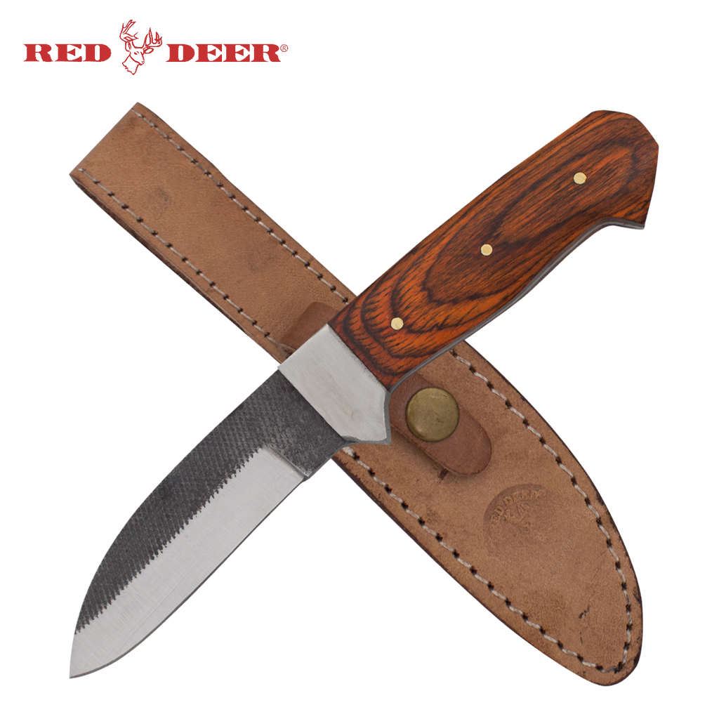Pakka Hunter Red Deer® Full Tang File Steel Drop Point Pakka Wood Hunting Knife