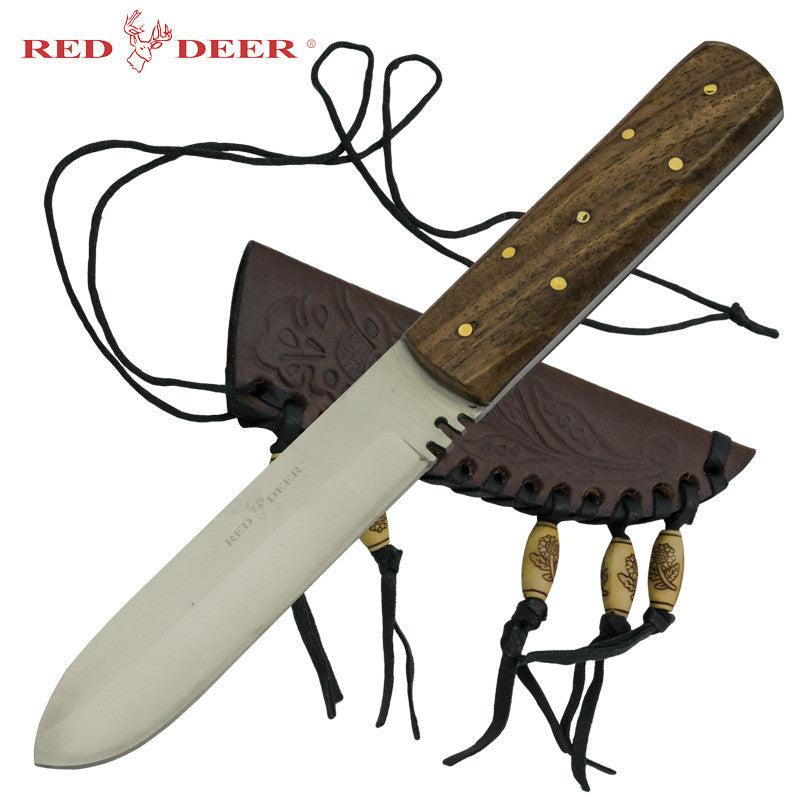 Red Deer Patch Knife with Beaded Sheath