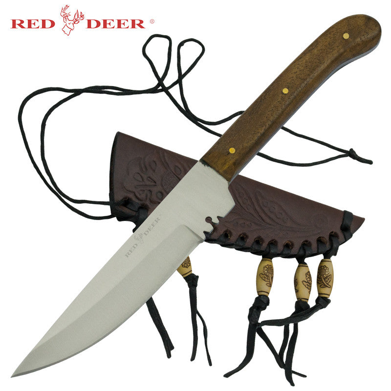 Red Deer Patch Knife with Wooden Handle