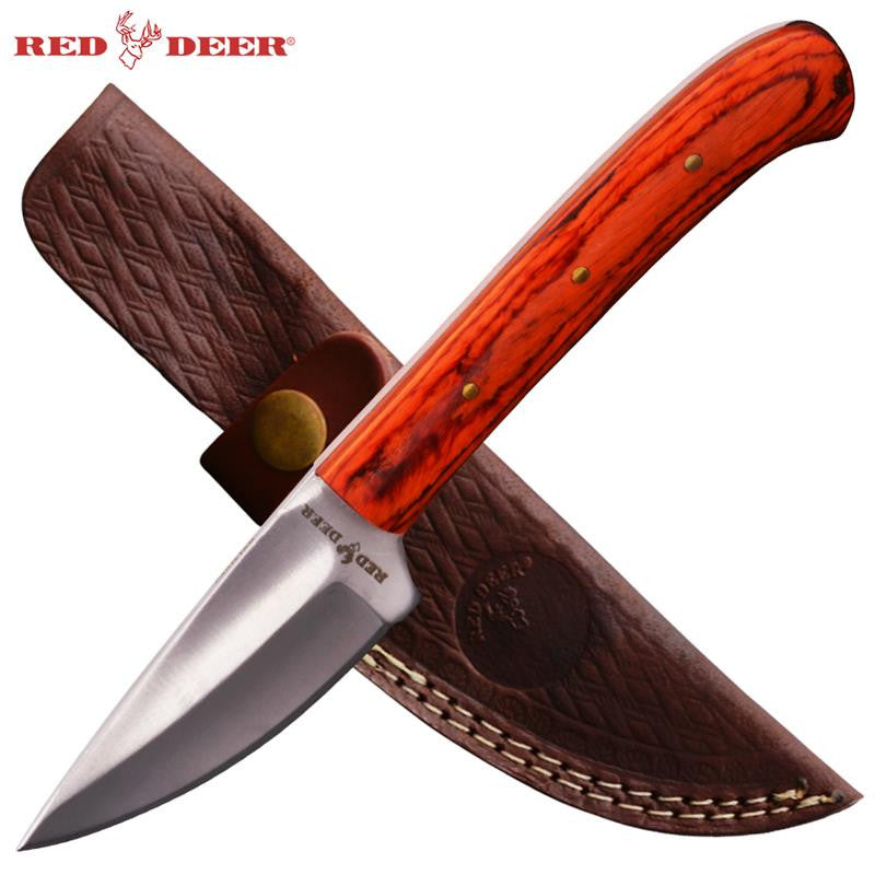 8 inch Hunting Knife with sheath (Orange Pakka Wood Handle), , Panther Trading Company- Panther Wholesale