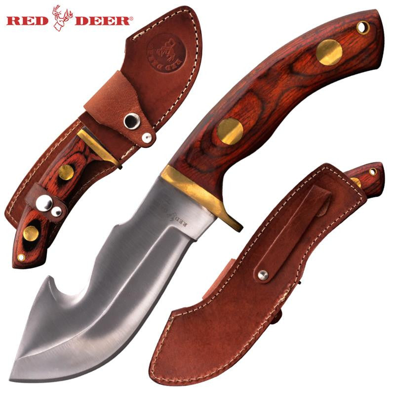 Red Deer® Hunting Knife with Leather Sheath (Red/Orange Pakka Wood Handle) - Panther Wholesale