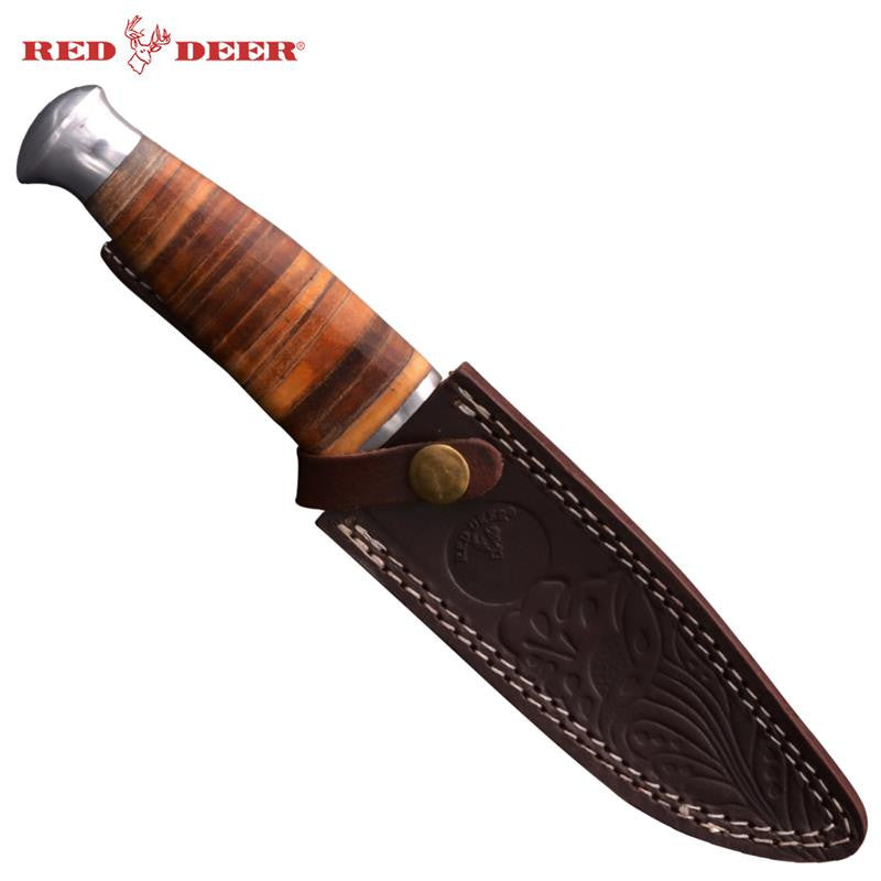 Red Deer® Hunting Knife with Sheath (Large), , Panther Trading Company- Panther Wholesale