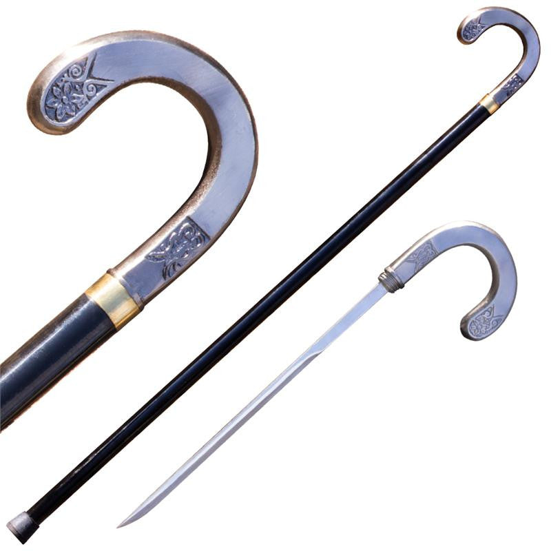 38.5 in Silver Crook Walking Cane (Hidden Sword), , Panther Trading Company- Panther Wholesale