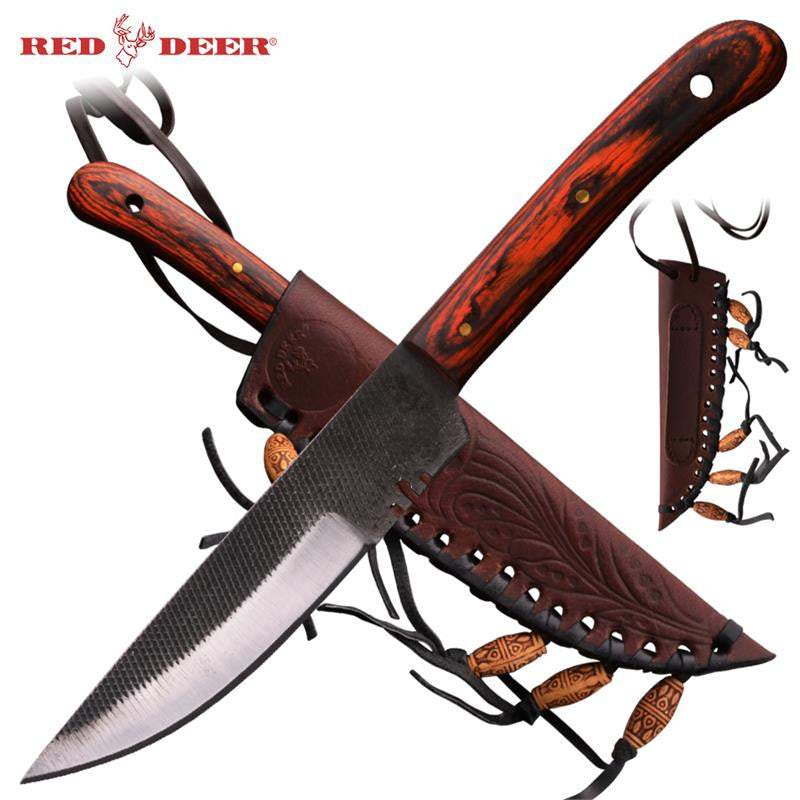 Red Deer® Patch Knife (Red Rose Wood) Large, , Panther Trading Company- Panther Wholesale