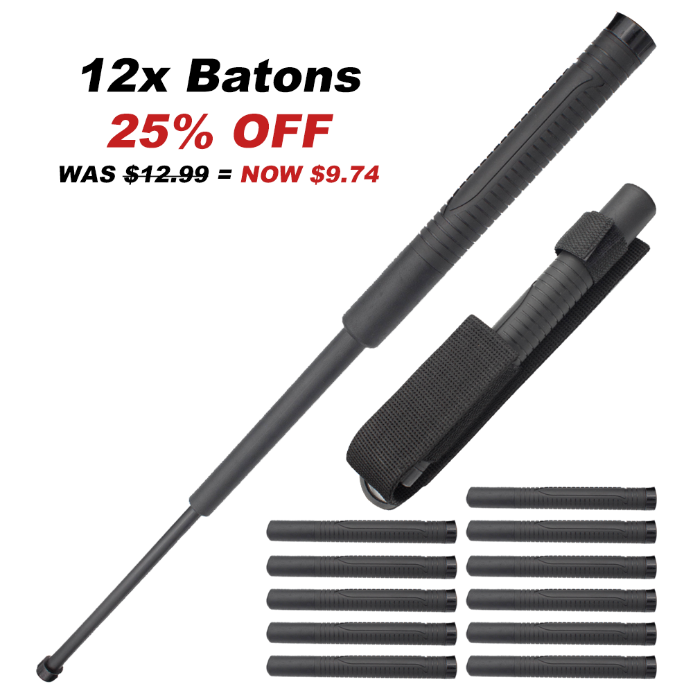 12x Bundle Pack 22 Inch Baton Reinforced Plastic with Metal Core and Rubber Grip Handle