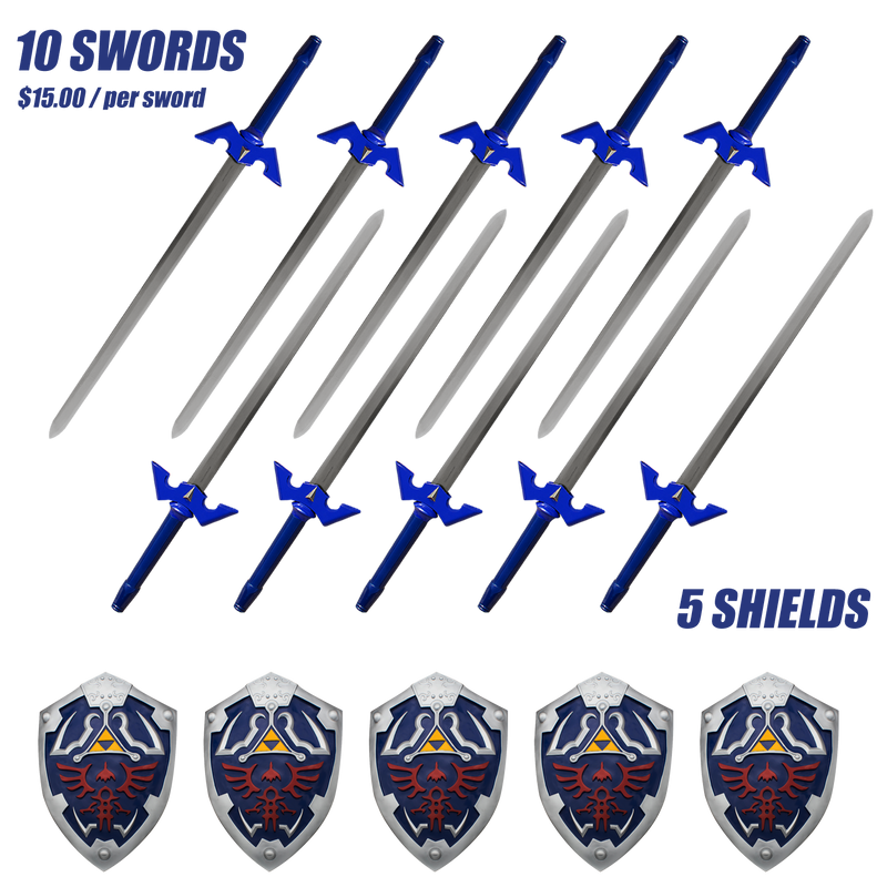 A Case of Blue and Gold Fantasy Gamer Swords with Scabbard (10 Swords)