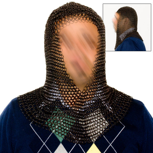 Black Chain Mail Coif, , Panther Trading Company- Panther Wholesale