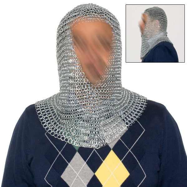 Silver Chain Mail Coif, , Panther Trading Company- Panther Wholesale
