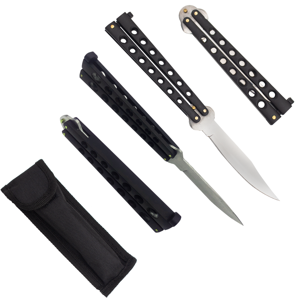 Heavy Duty Black Matte Drop Point Dual Flip side balisong folding knife
