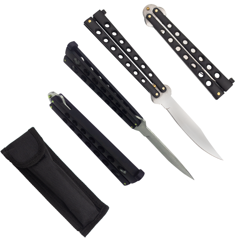 Heavy Duty Black Matte Drop Point Dual Flip side folding knife