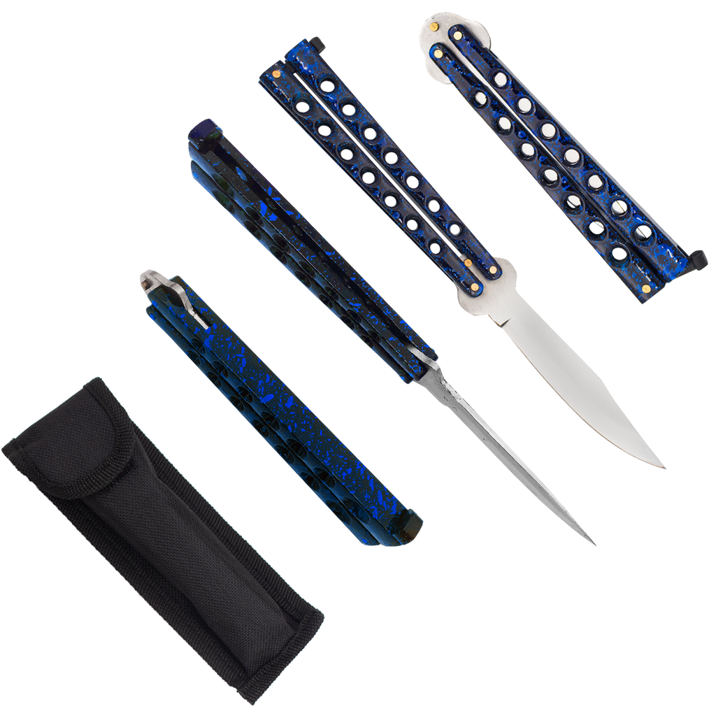 Heavy Duty Blue Splatter Drop Point Dual Flip side balisong folding knife