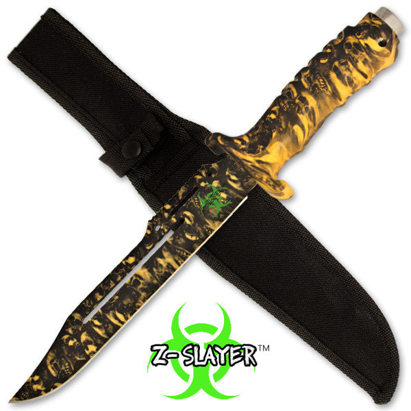 Z-Slayer 13 Inch Survival and Combat Knife - Yellow Skulls
