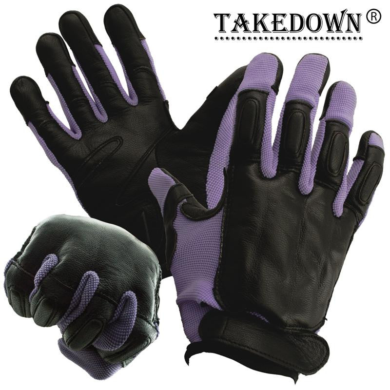 Medium Takedown Purple Full Finger Sap Gloves w/ Steel Shot Knuckles - Panther Wholesale