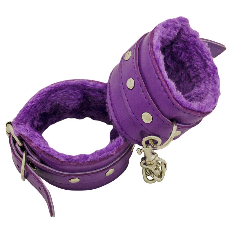 Purple leather handcuffs with fuzzy interior, , Panther Trading Company- Panther Wholesale