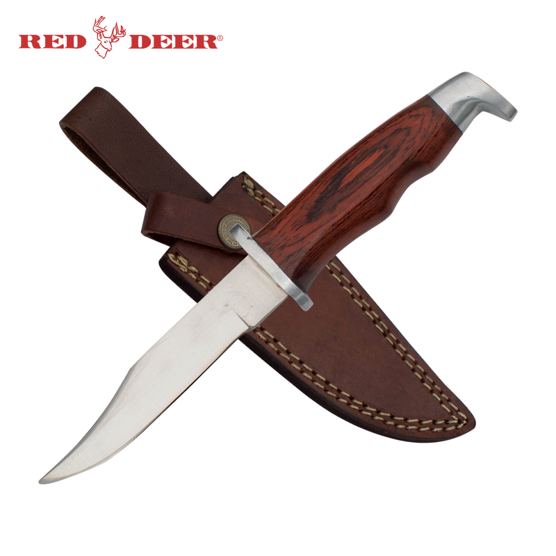 9.5 in Red Deer Hunting Knife with Brown Leather Sheath, , Panther Trading Company- Panther Wholesale