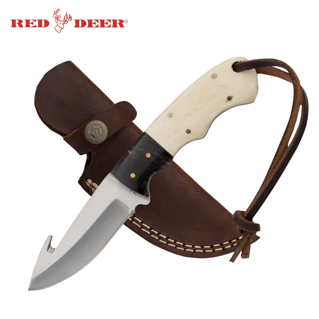 Red Deer® Full Tang Gut Hook 7 Inch Bone and Horn Hunting Knife