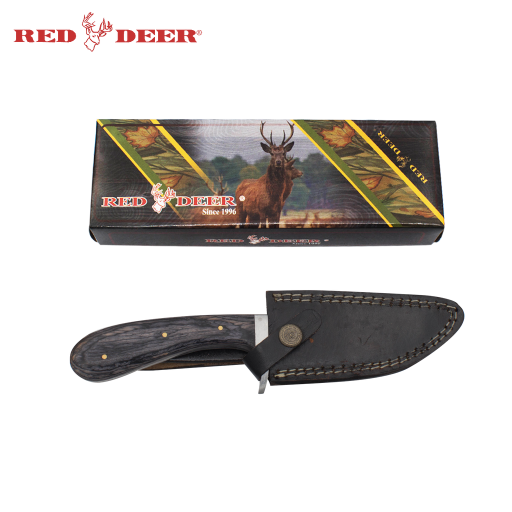 Red Deer Full Tang Pakka Wood Handle 440 Stainless Steel Leather Sheath, , Panther Trading Company- Panther Wholesale