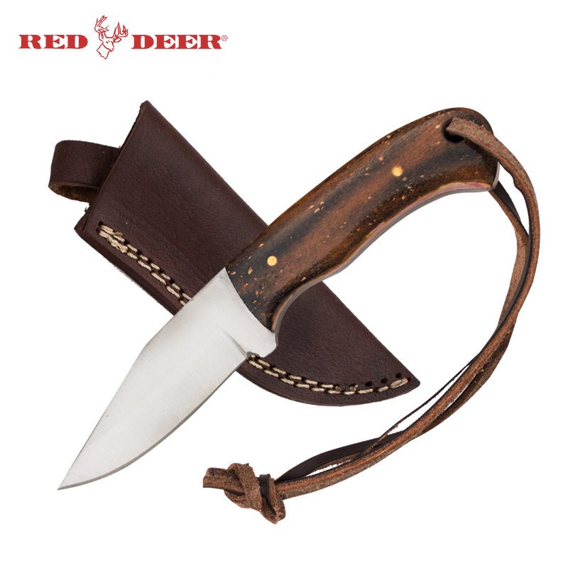 Red Deer® Clip Point Full Tang 6 Inch Burnt Bone Hunting Knife
