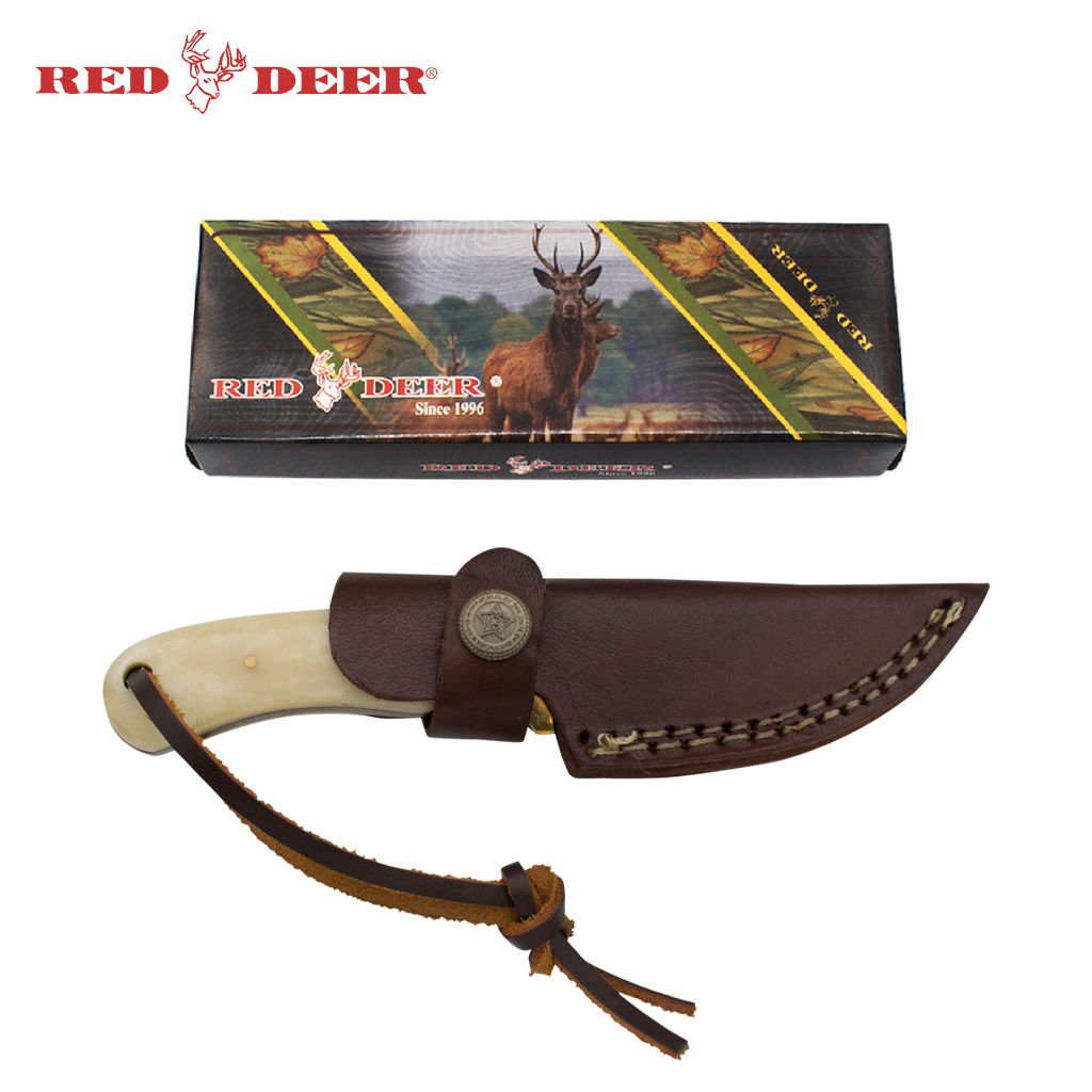 Red Deer® Drop Point Animal Bone Full Tang 6.5 Inch Bone Hunting Knife