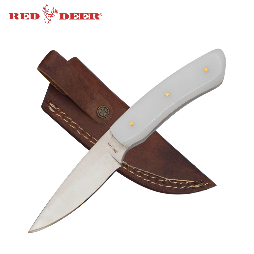 7 in Red Deer Hunting Knife with White Acrylic Handle