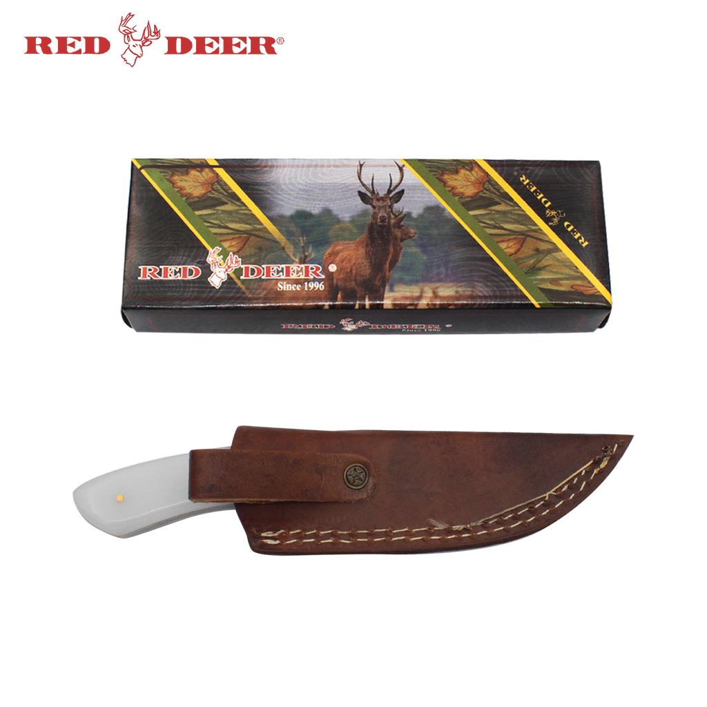7 in Red Deer Hunting Knife with White Acrylic Handle, , Panther Trading Company- Panther Wholesale