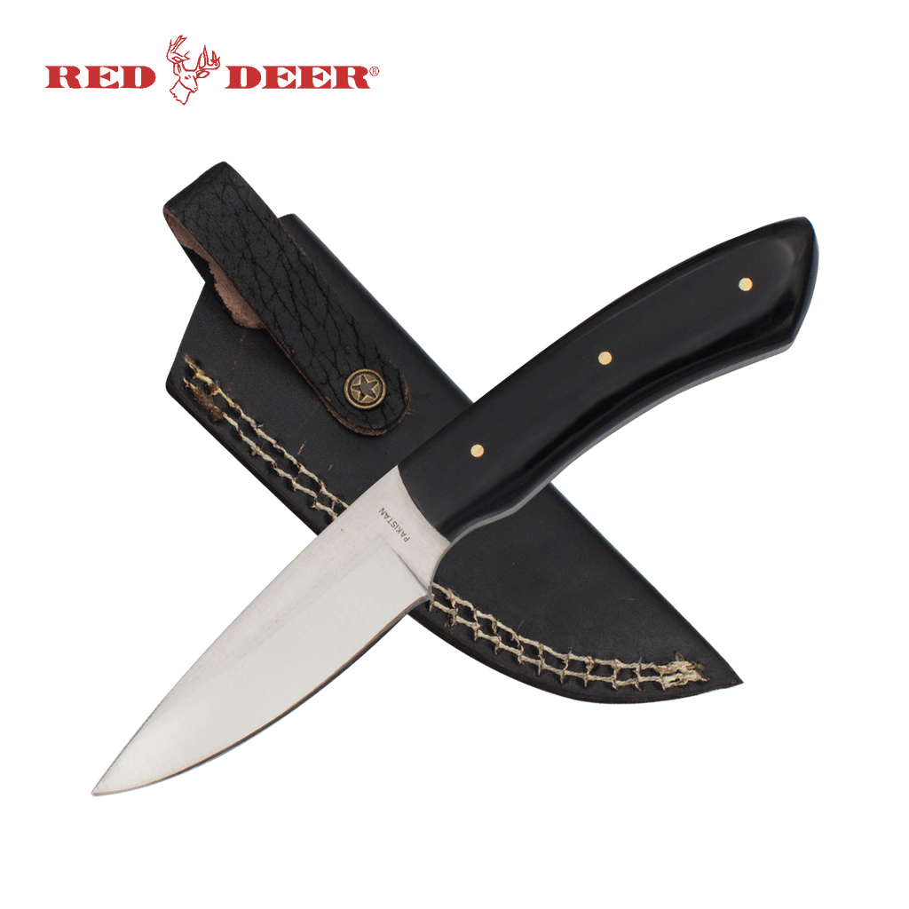 7 in Red Deer Hunting Knife with Black Acrylic Handle, , Panther Trading Company- Panther Wholesale