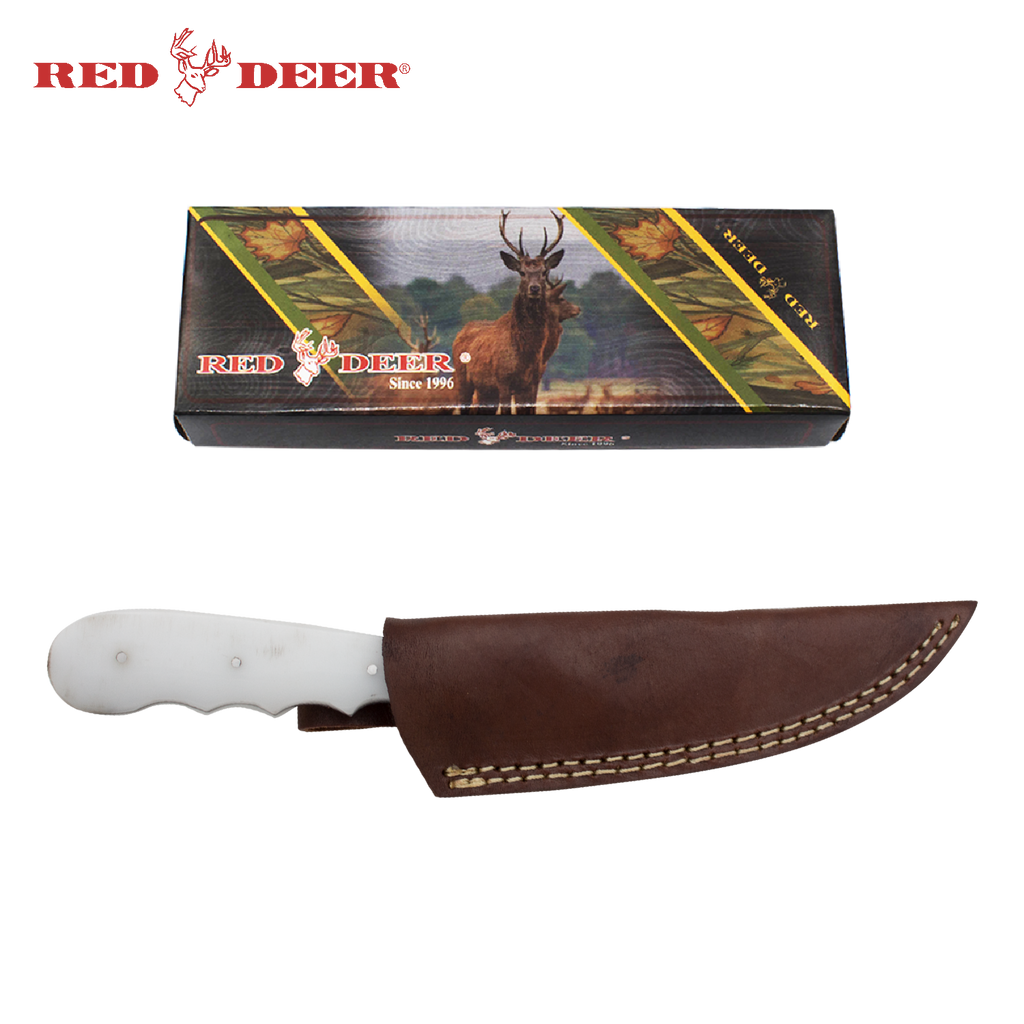 Red Deer® Full Tang White Acrylic 8 Inch Hunting Knife