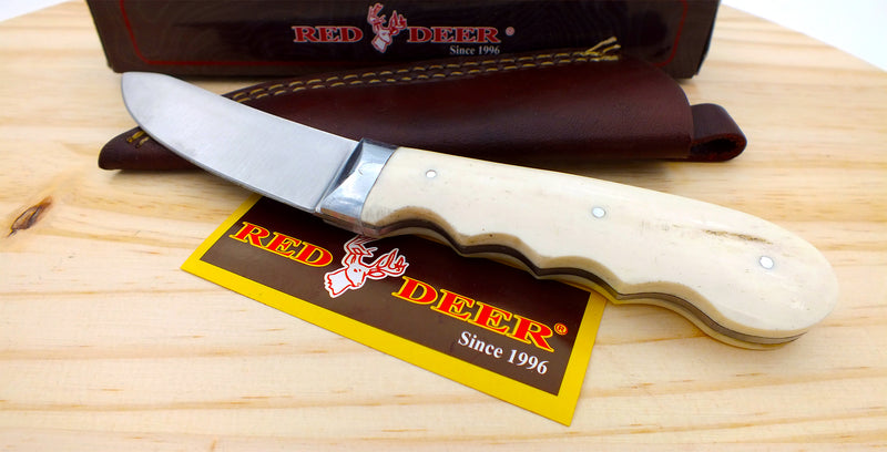 Red Deer® Full Tang White Bone 8 Inch Hunting Knife