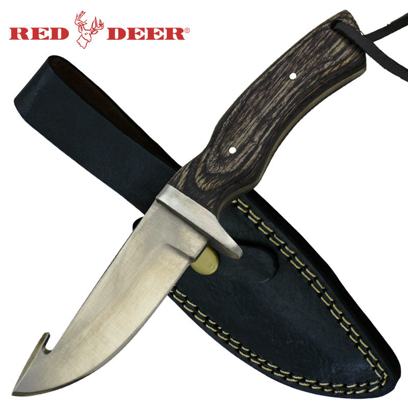 Red Deer Full Tang Gut Hook 8.5 inches Gray Hunting Knife with Sheath, , Panther Trading Company- Panther Wholesale
