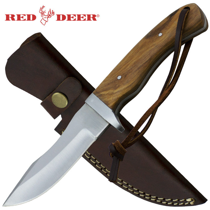 Red Deer 8.5 Inches Brown Full Tang Pakka Wood Handle with Genuine Leather Sheath, , Panther Trading Company- Panther Wholesale