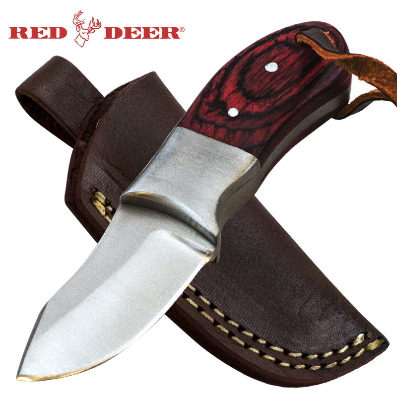 Red Deer 4.5 Inches Full Tang Red Pakka Wood Handle Hunting Knife, , Panther Trading Company- Panther Wholesale