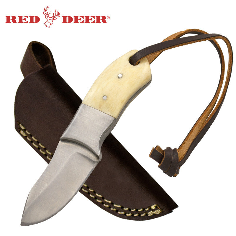 Red Deer Small 4.5 Inches Bone Handle Hunting Knife, , Panther Trading Company- Panther Wholesale